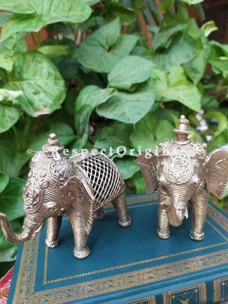 Tribal Dhokra Art Figurine set of 2 Brass; 4 Inches; RespectOrigins.com