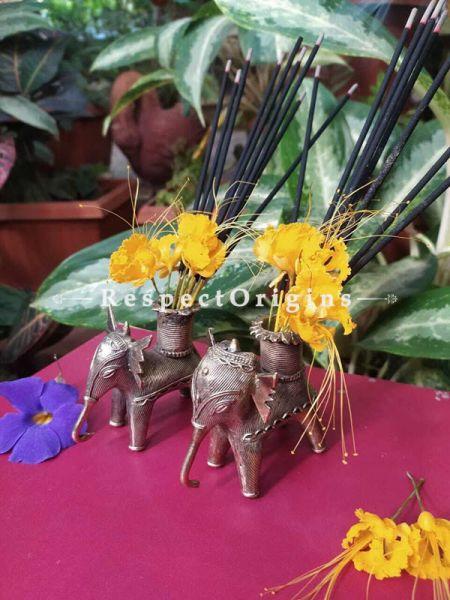 Set of 2 Handmade Tribal Bastar Brass Dhokra Artwork ; Agarbatti or Candle Stand ; 5 Inches ; RespectOrigins.com