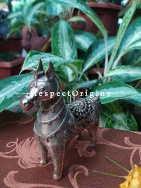 Tribal Dhokra Art Horse  Brass; 7 Inches; RespectOrigins.com