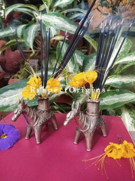 Set of 2 Horse Tribal Bastar Brass Dhokra Artwork ; Agarbatti or Candle Stand ; 5 Inches ; RespectOrigins.com