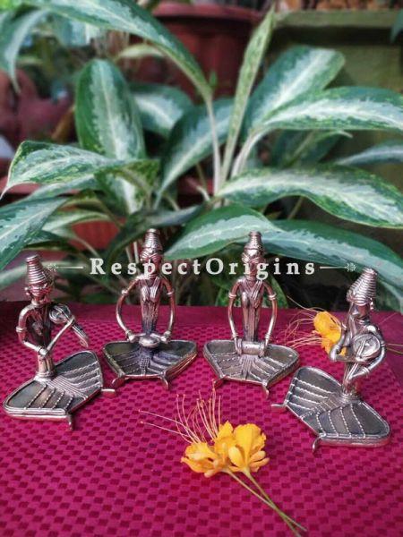 Tribal Dhokra Art Female Musicians Set of 4 Brass; 4 Inches; RespectOrigins.com