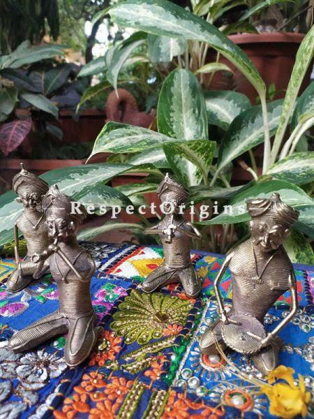 Tribal Dhokra Art Musicians Set of 4 Brass; 5 Inches; RespectOrigins.com