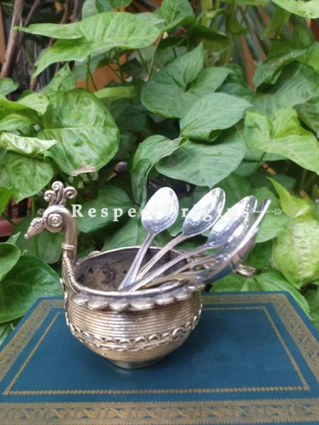 Tribal Dhokra Art Peacock shape Spoon Stand ; 4 Inches; RespectOrigins.com