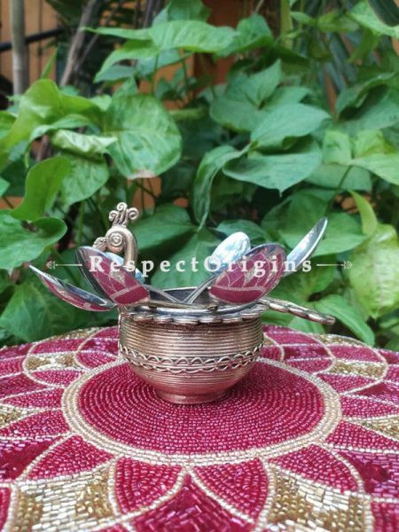 Tribal Dhokra Art Peacock Shaped  Spoon Stand ; 4 Inches; RespectOrigins.com