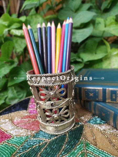 Floral Design Brass Tribal Dhokra Pen Stand; 4 Inches; RespectOrigins.com