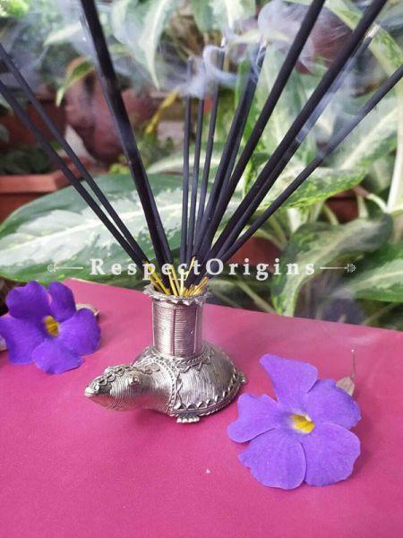 Tortoise Tribal Bastar Brass Dhokra Artwork ; Agarbatti or Candle Stand ; 5 Inches ; RespectOrigins.com