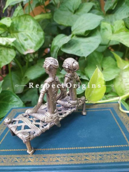 Tribal Dhokra Art Couple on a Bench Brass; 5 Inches; RespectOrigins.com