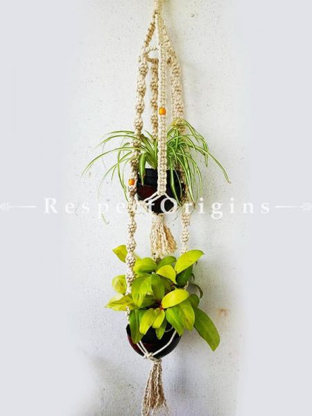 Buy Double Pot Hanging Plant Holder, Macrame in White color At RespectOrigins.com