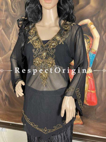 Beautiful Georgette Dress Formal Black Kurti Top with Beadwork; RespectOrigins.com