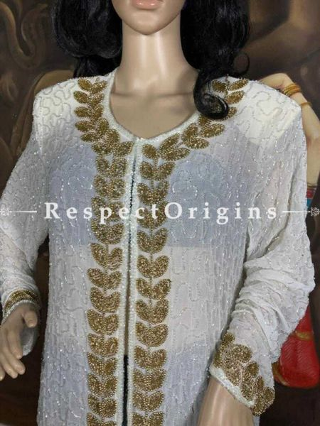 Stunning White Georgette Formal Dress Kaftan Kurti Top with Beadwork; RespectOrigins.com