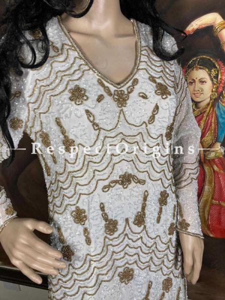 Stunning Cream Georgette Formal Dress Kaftan Kurti Top with Beadwork; RespectOrigins.com