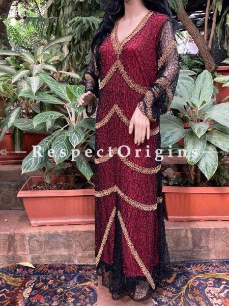 Classy Maroon Georgette Formal Kaftan Dress with Beadwork  ; RespectOrigins.com