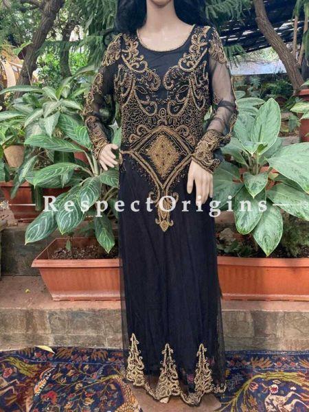 Party Black Georgette Formal Kaftan Dress with Beadwork  ; RespectOrigins.com