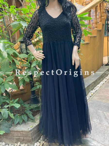 Gorgeous Georgette Formal Kaftan Dress  with Beadwork in Navy Blue; RespectOrigins.com