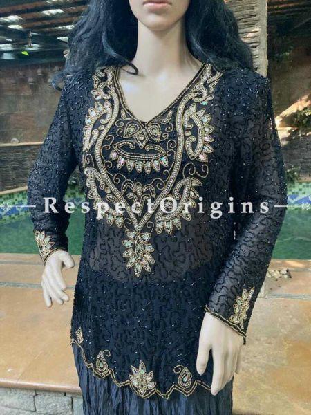 Stunning Georgette Dressy Formal Dark Black Kurti Dress Top with Beadwork; RespectOrigins.com