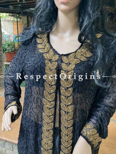 Majestic Georgette Dress Formal Kurti Top with Beadwork; Black; RespectOrigins.com