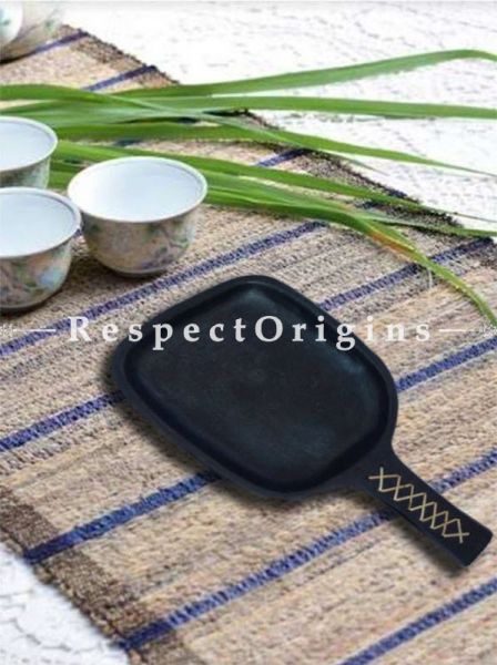 Buy Dry Starter Frying Clay Pan With Handle: Handcrafted Longpi Manipuri Black Pottery; 11.5 in; Chemical Free At RespectOrigins.com