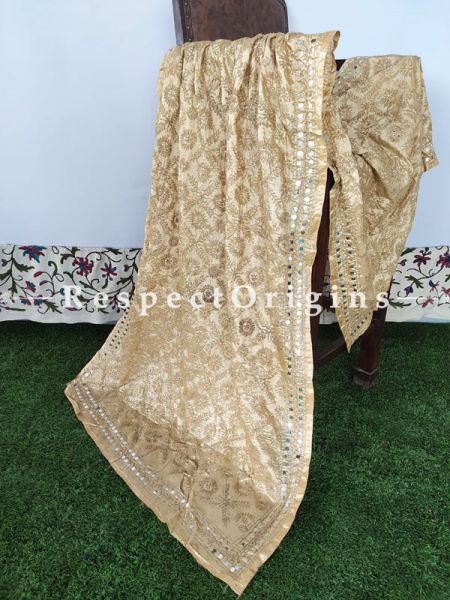 Phulkari Hand-embroidered Golden Dupatta with Piping and Tinsels at Borders; Length 90 X 40 Width Inches; RespectOrigins.com