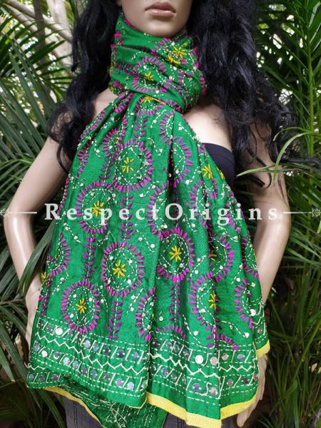 Phulkari Hand-embroidered Bottle Green Cotton Colourful Dupatta with Piping and Tinsels at Borders; Length 90 X 40 Width Inches; RespectOrigins.com