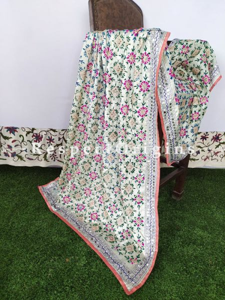Phulkari Hand-embroidered Off White Cotton Colourful Dupatta with Piping and Tinsels at Borders; Length 90 X 40 Width Inches; RespectOrigins.com