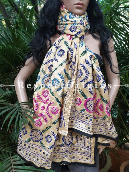 Phulkari Hand-embroidered Colorful Dupatta in Light Beige with Piping and Tinsels at Borders; Length 90 X 40 Width Inches; RespectOrigins.com