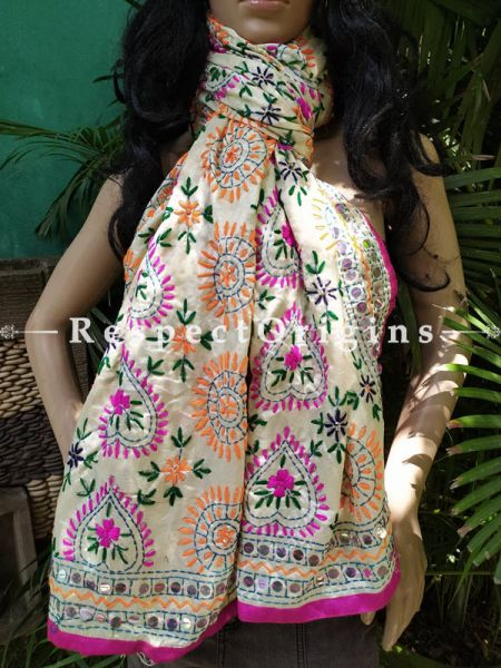 Phulkari Hand-embroidered Colorful Dupatta in Ivory with Piping and Tinsels at Borders; Length 90 X 40 Width Inches; RespectOrigins.com