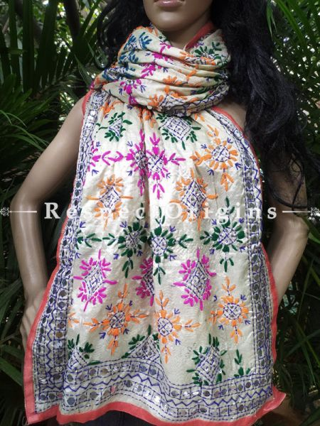 Colorful Phulkari Hand-Embroidered Dupatta in Off White with Piping and Tinsels at Borders; Length 90 X 40 Width Inches; RespectOrigins.com