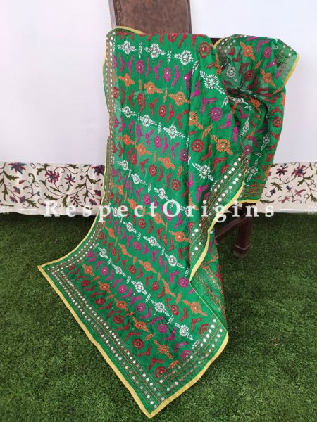Green Phulkari Hand-embroidered Cotton Colourful Dupatta with Piping and Tinsels at Borders; Length 90 X 40 Width Inches; RespectOrigins.com