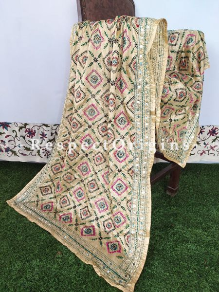 Light Beige Phulkari Hand-Embroidered Colorful Dupatta with Piping and Tinsels at Borders; Length 90 X 40 Width Inches; RespectOrigins.com