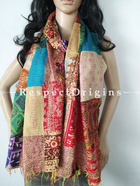 Kantha Stitch Patchwork Silk Stole In Swathes Of Blue, Red & Cream; Length 80 X Width 20 Inches ; RespectOrigins.com