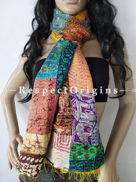 Kantha Stitch Patchwork Silk Stole In Hues Of Sea Green,Purple & Brown; Length 80 X Width 20 Inches; RespectOrigins.com
