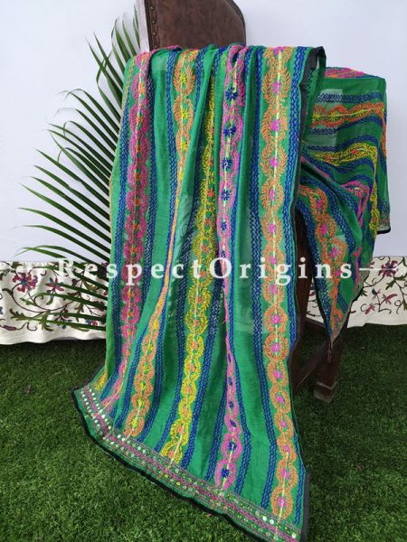 Phulkari Hand-embroidered Green , Pink, Blue Colourful Stripes Cotton Dupatta with Piping and Tinsels at Borders; Length 90 X 40 Width Inches; RespectOrigins.com