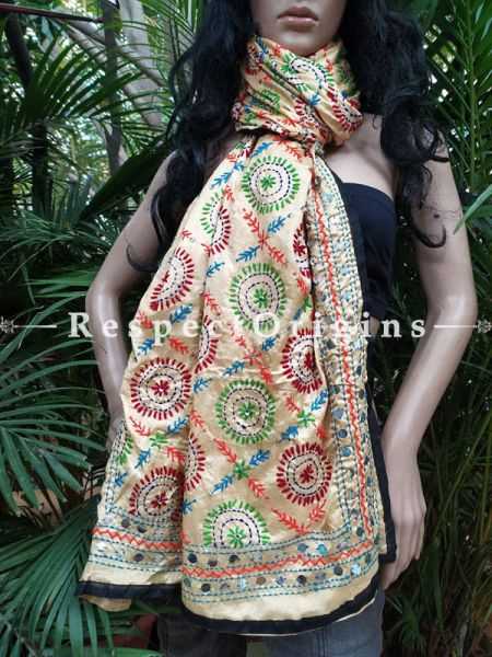 Colourful Phulkari Hand-embroidered Beige Cotton Dupatta with Piping and Tinsels at Borders; Length 90 X 40 Width Inches; RespectOrigins.com
