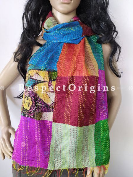 Kantha Stitch Patchwork Silk Stole In Swathes Of Royal Blue,Purple & Green; Length 80 X Width 20 Inches ; RespectOrigins.com