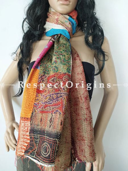 Kantha Stitch Patchwork Silk Stole In Overlay Of Red,Orange & Ivory; Length 80 X Width 20 Inches ; RespectOrigins.com