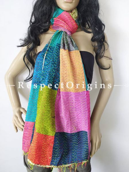 Kantha Stitch Patchwork Silk Stole In Hues Of Blue, Lime & Red; Length 80 X Width 20 Inches ; RespectOrigins.com