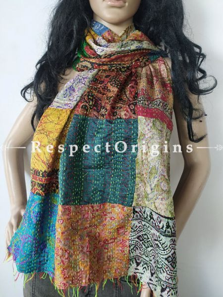 Kantha Stitch Patchwork Silk Stole In Hues Of Blue,Cream & Yellow; Length 80 X Width 20 Inches ; RespectOrigins.com