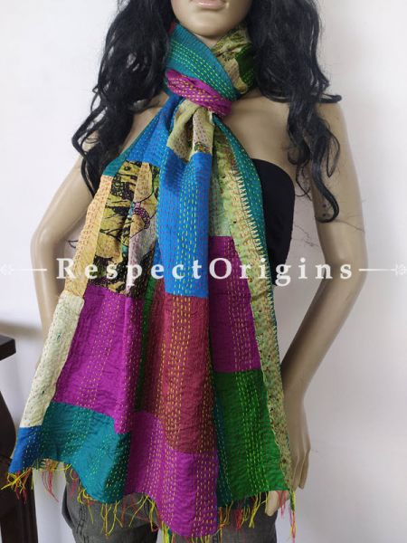 Kantha Stitch Patchwork Silk Stoles In Overlay Of Blue,Green & Purple; Length 80 x width 20 Inches; RespectOrigins.com