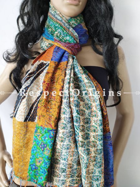 Kantha Stitch Patchwork Silk Stole In Shades Of Mustard,Sea Green & Ivory; Length 80 X Width 20 Inches ; RespectOrigins.com