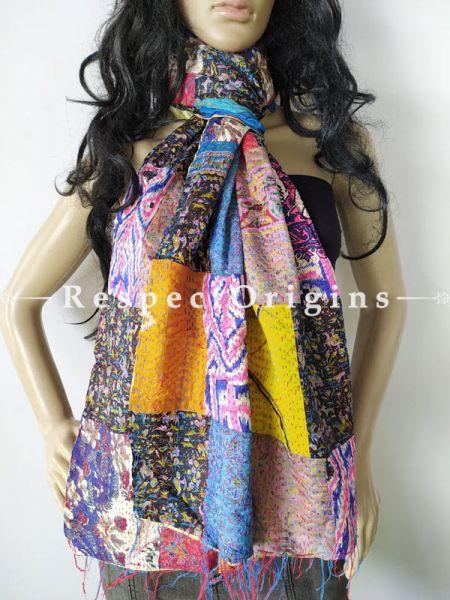 Kantha Stitch Patchwork Silk Multicoloured Stoles; Length 80 x width 20 Inches; RespectOrigins.com