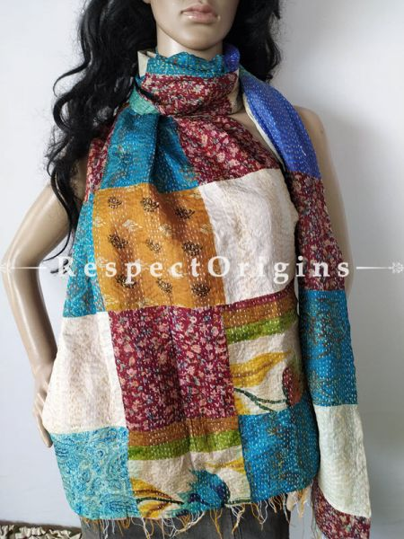 Kantha Stitch Patchwork Silk Stole In Swathes Of Royal And Sky Blue & Ivory; Length 80 X Width 20 Inches; RespectOrigins.com