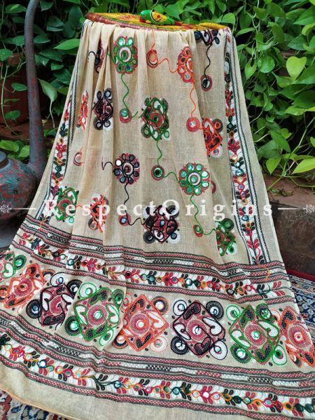 Exquisite Hand Embroidered Cotton Mirrorwork Stole in Beige; 87 X 44 Inches; RespectOrigins.com