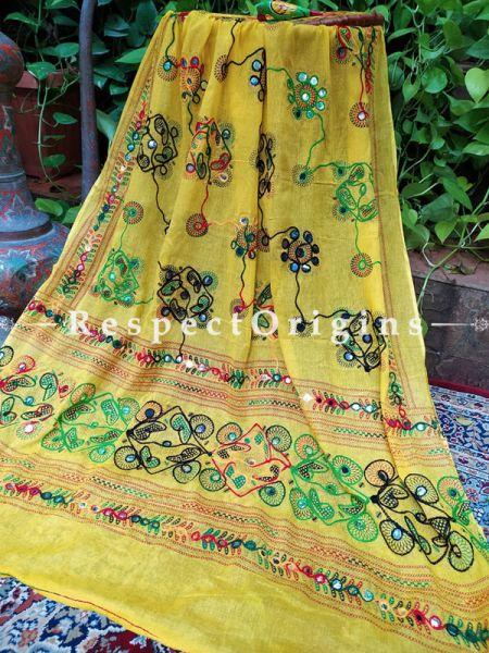 Pretty Yellow Hand Embroidered Cotton Mirrorwork Stole; 87 X 44 Inches; RespectOrigins.com