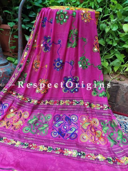 Graceful Hand Embroidered Cotton Mirrorwork Stole in Dark Pink; 87 X 44 Inches; RespectOrigins.com