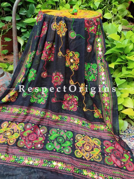 Elegant Hand Embroidered Cotton Mirrorwork Stole in Black; 87 X 44 Inches; RespectOrigins.com