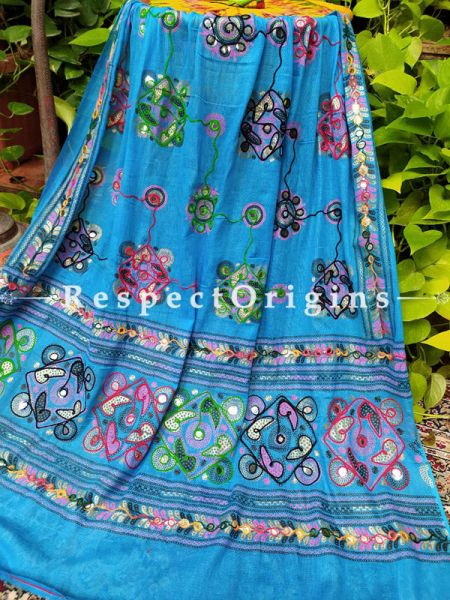 Amazing Hand Embroidered Cotton Mirrorwork Stole in Royal Blue; 87 X 44 Inches; RespectOrigins.com
