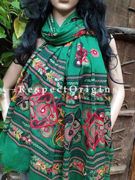 Stunning Embroidered Cotton Mirrorwork Stole Bottle Green; 87 X 44 Inches; RespectOrigins.com