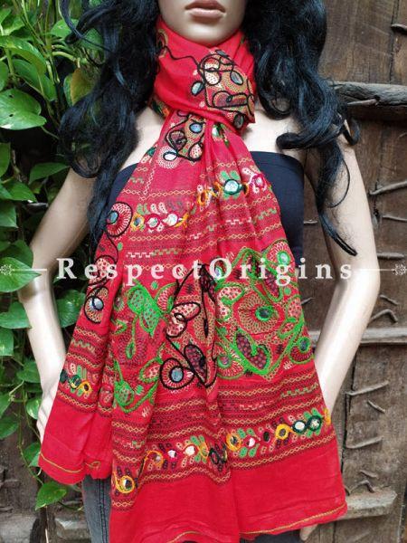 Attractive Hand Embroidered Cotton Mirrorwork Stole in Crimson Red; 87 X 44 Inches; RespectOrigins.com