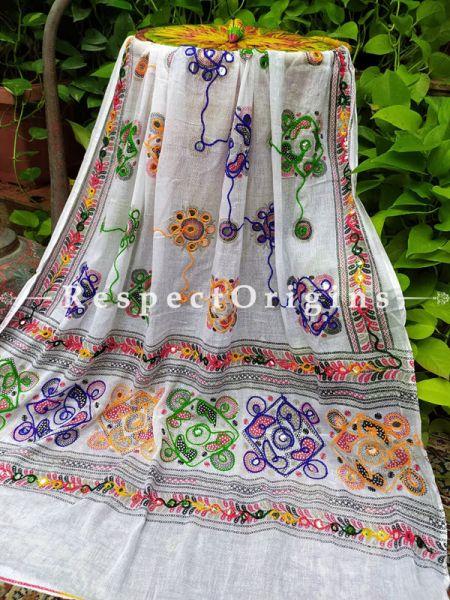 Alluring Hand Embroidered Cotton Mirrorwork Stole in White; 87 X 44 Inches; RespectOrigins.com
