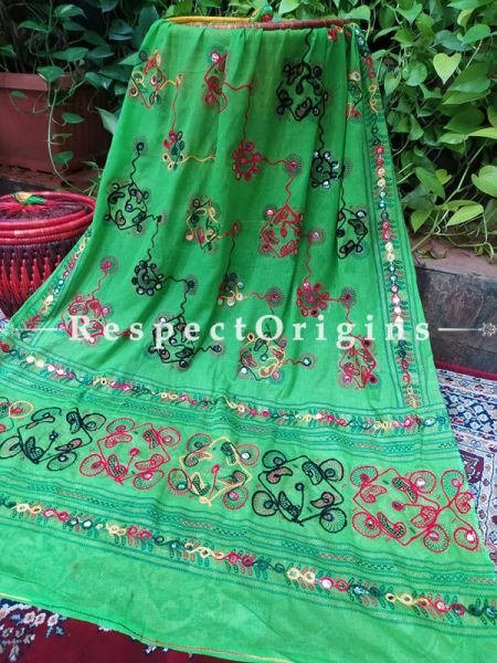 Gorgeous Hand Embroidered Cotton Mirrorwork Stole in Green; 87 X 44 Inches; RespectOrigins.com